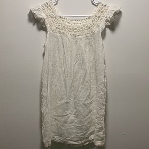 White cotton sheer bathing suit cover up dress